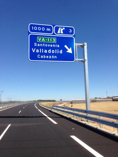 cartel carretera Valladolid