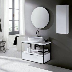 mueble estructural suspendido con lavabo bol