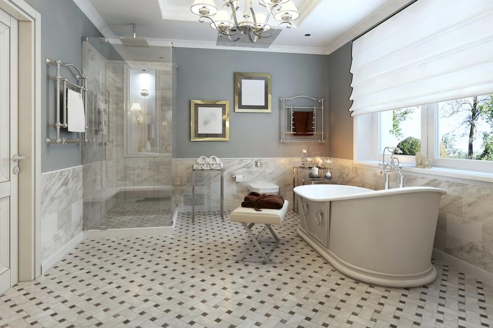 baño con muebles-de-estilo-clásico y atemporal